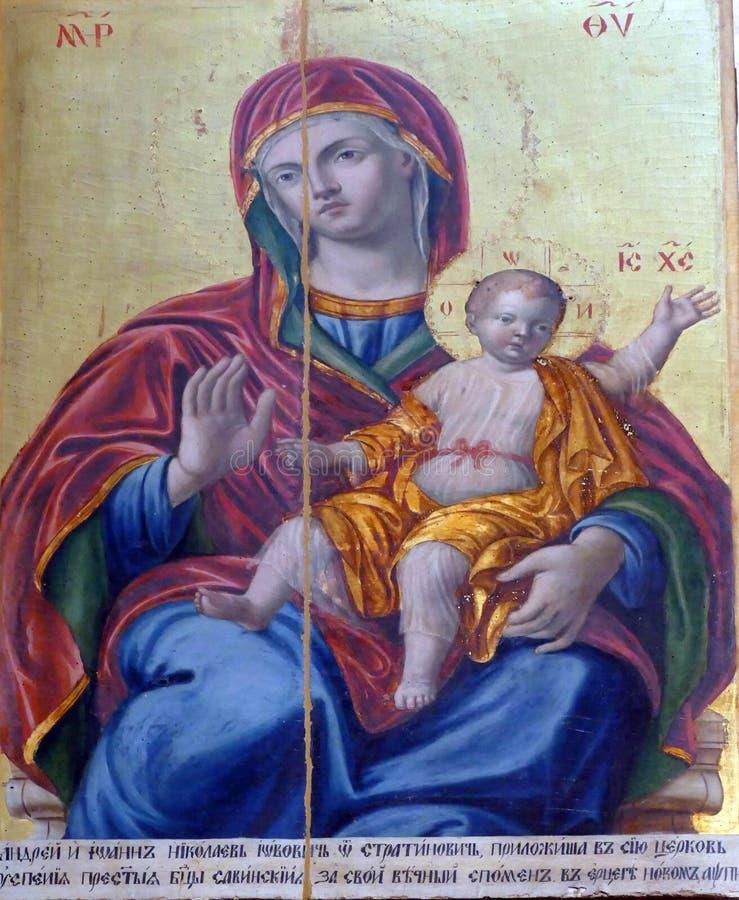 ?cone da crian?a de Madonna e de Cristo imagens de stock