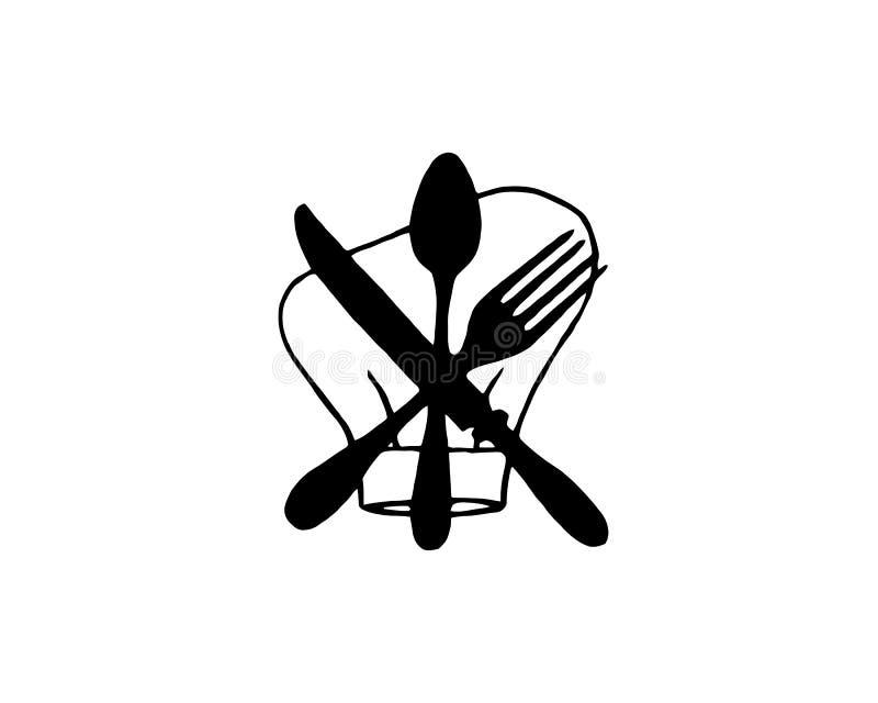 ?cone da cutelaria Sinais do restaurante A colher, a forquilha e a faca isolaram ícones no fundo branco S?mbolos da cutelaria Ilu ilustração do vetor