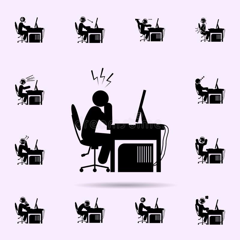 ?cone da dor de cabe?a do homem grupo universal dos ícones do gamer para a Web e o móbil ilustração stock