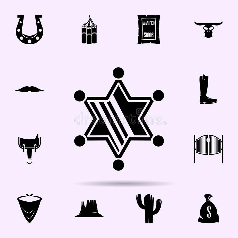 ?cone da estrela do xerife grupo universal dos ?cones materiais ocidentais selvagens para a Web e o m?bil ilustração do vetor