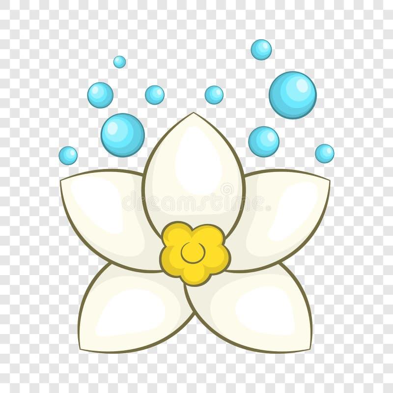 ?cone da flor de l?tus brancos, estilo dos desenhos animados ilustração royalty free
