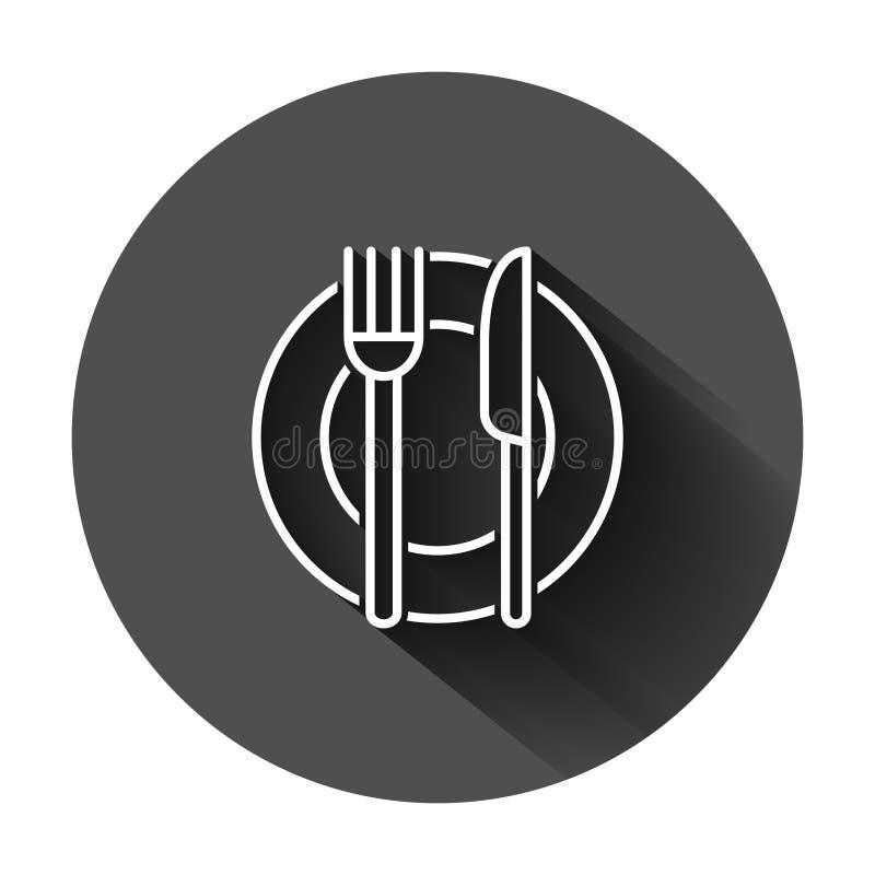 ?cone da forquilha, da faca e da placa no estilo liso Ilustração do vetor do restaurante no fundo redondo preto com sombra longa  ilustração royalty free