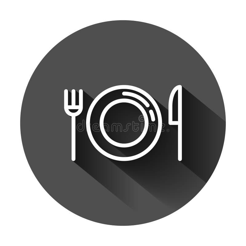 ?cone da forquilha, da faca e da placa no estilo liso Ilustração do vetor do restaurante no fundo redondo preto com sombra longa  ilustração stock