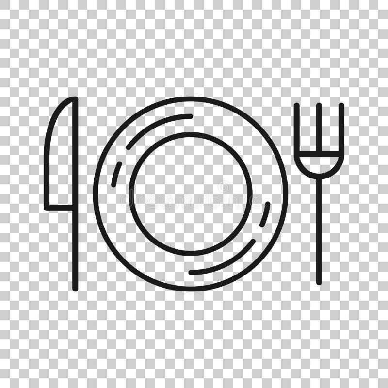 ?cone da forquilha, da faca e da placa no estilo transparente Ilustra??o do vetor do restaurante no fundo isolado Conceito do neg ilustração do vetor