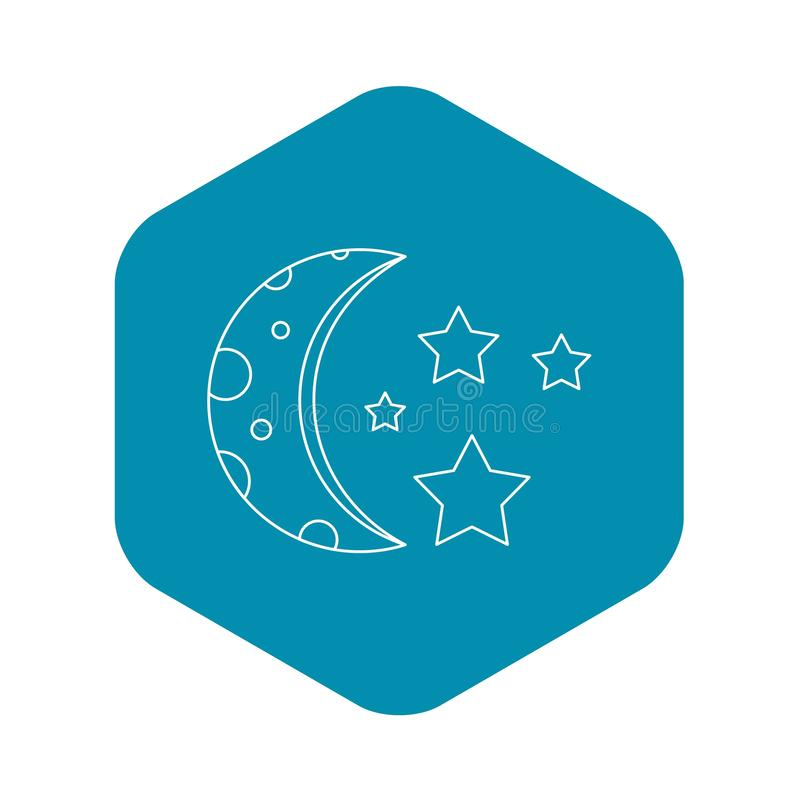 ?cone da lua e das estrelas, estilo do esbo?o ilustração stock