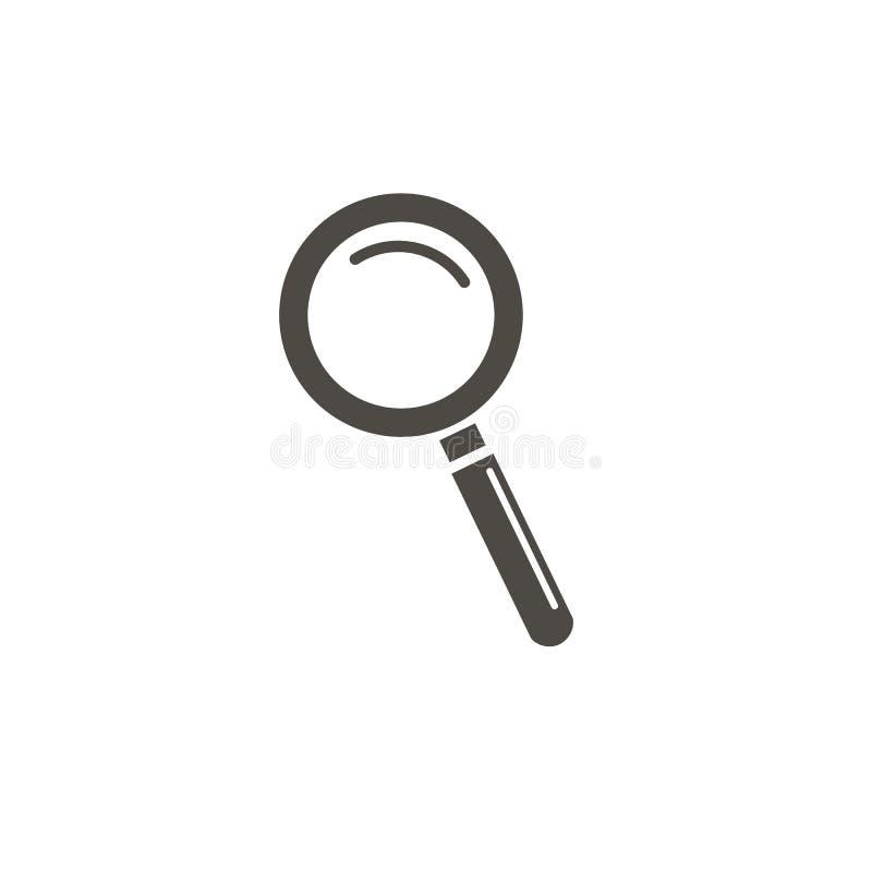 ?cone da lupa, lente de aumento do vetor ou sinal da lupa Engrena o ?cone ilustração royalty free