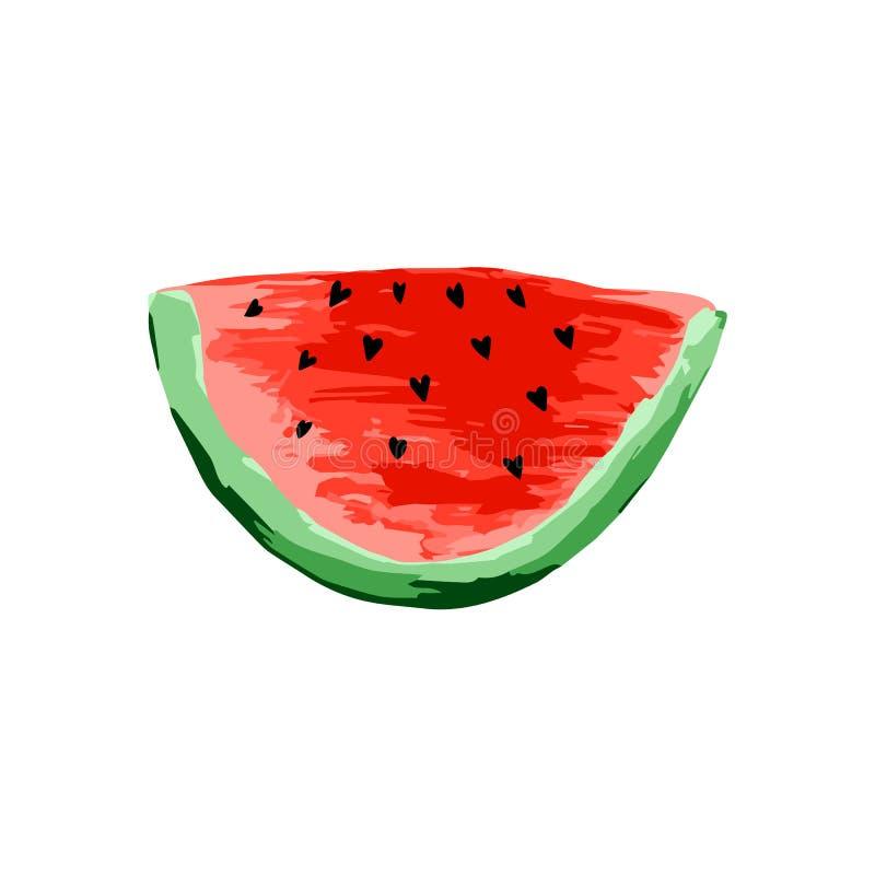 ?cone da melancia Fruto maduro suculento no fundo branco ilustração do vetor
