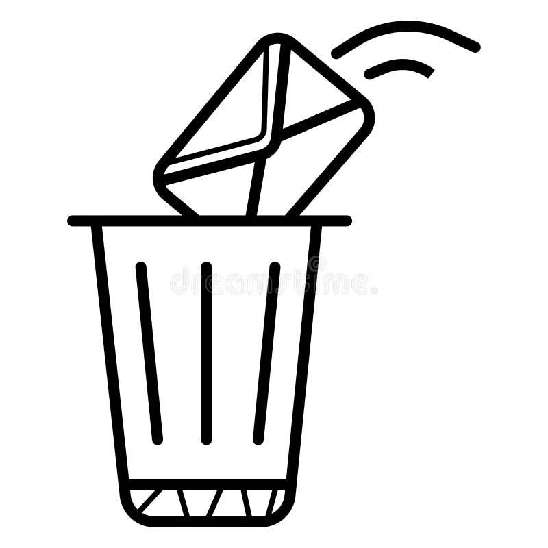 ?cone da mensagem Suprimindo do envelope e emissão ao escaninho de lixo ilustração royalty free