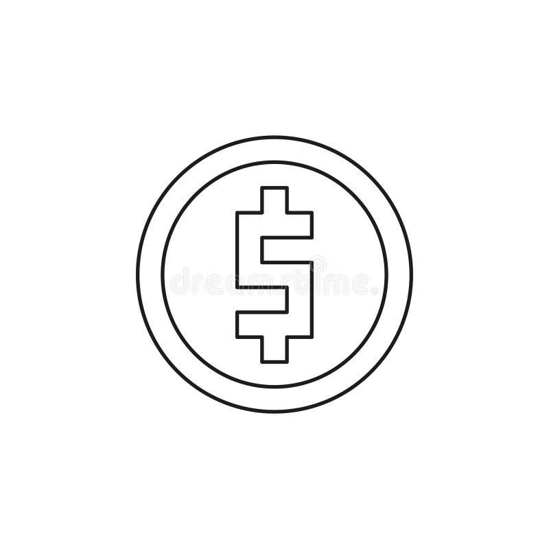 ?cone da moeda do d?lar dinheiro do vetor - s?mbolo do investimento ilustração stock