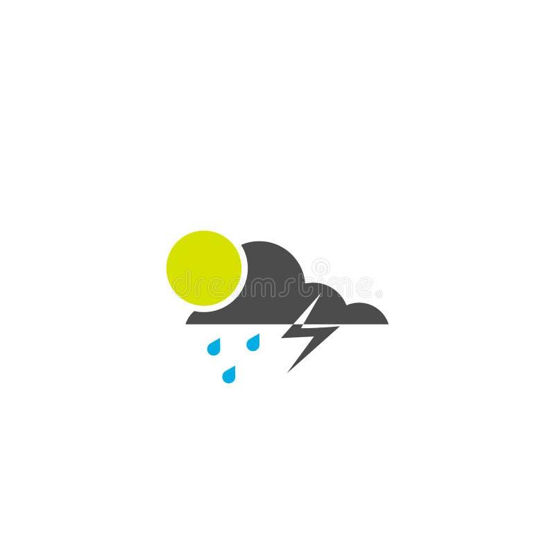 ?cone da nuvem e do sol chuva e iluminação tempo do símbolo do vetor EPS10 ilustração royalty free