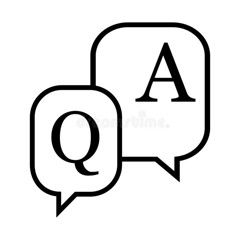?cone da pergunta e resposta Ilustra??o do vetor da bolha do discurso da discuss?o Pergunta, conceito do neg?cio da resposta ilustração do vetor