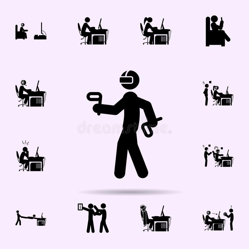?cone da realidade virtual do homem grupo universal dos ?cones do gamer para a Web e o m?bil ilustração stock