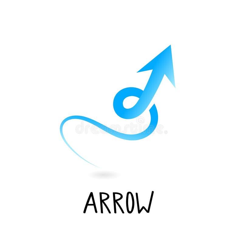 ?cone da seta no estilo liso na moda isolado no fundo cinzento S?mbolo para seu projeto da site, logotipo da seta, app, UI ilustração stock