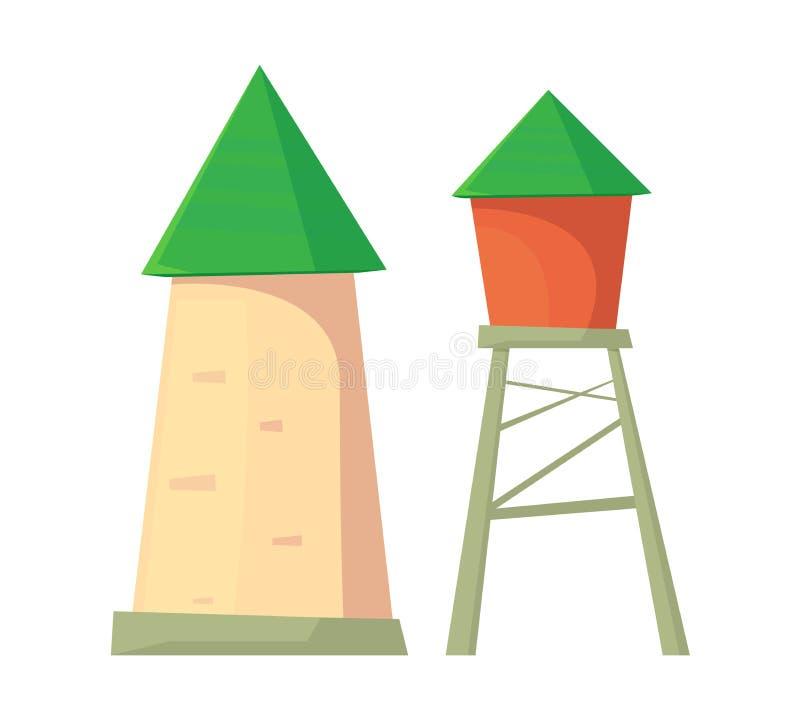 ?cone da torre de ?gua Tanque de armazenamento da ?gua pot?vel ilustração stock