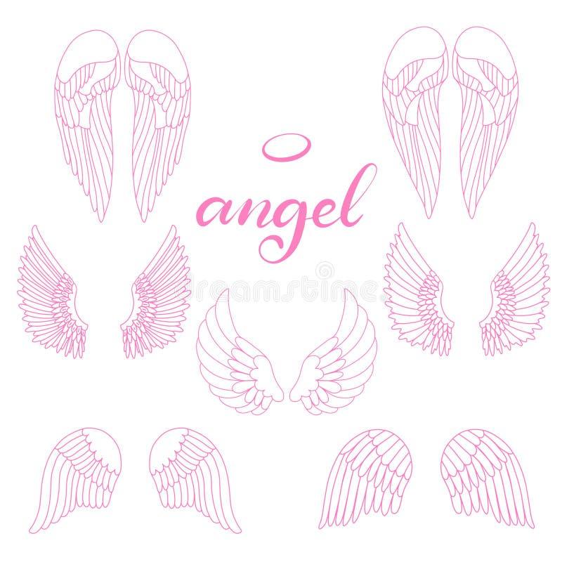?cone das asas do anjo com a m?o que rotula o anjo da palavra ilustração royalty free