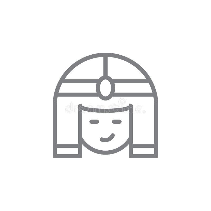?cone de Cleopatra Elemento do ?cone do myphology Linha fina ?cone para o projeto do Web site e o desenvolvimento, desenvolviment ilustração do vetor