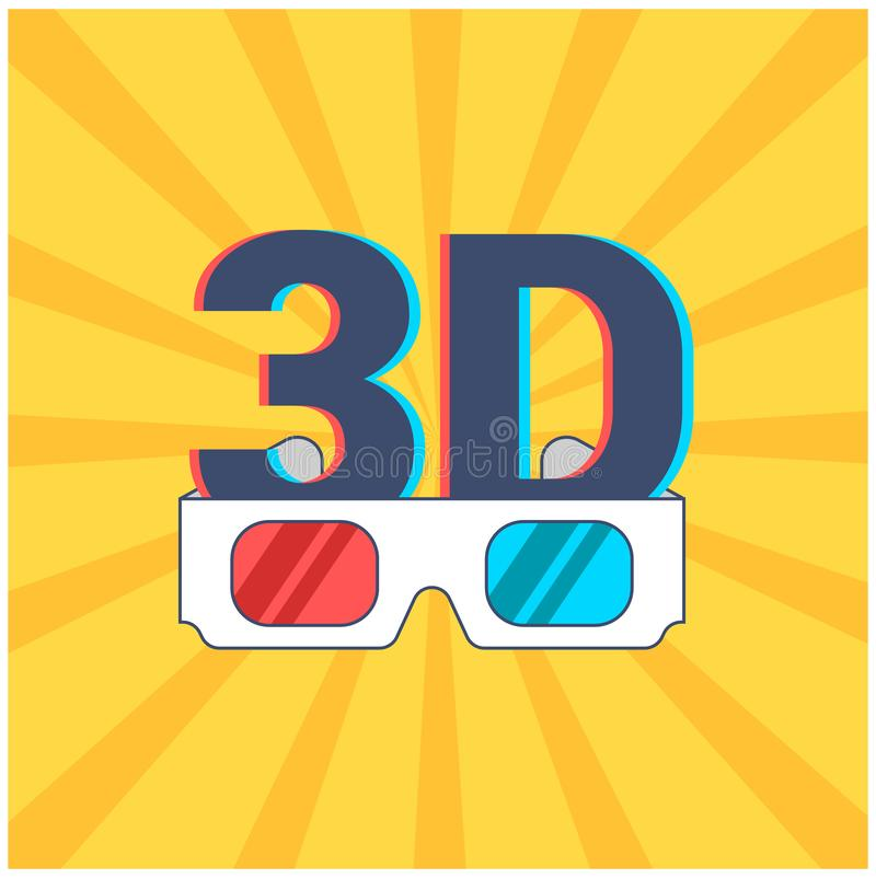 ?cone de 3D e de vidros com as lentes vermelhas e azuis em um fundo amarelo com raios ilustração do vetor