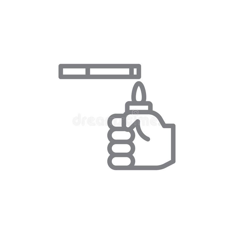 ?cone de fumo do esbo?o Elementos do ?cone de fumo da ilustra??o das atividades Os sinais e os s?mbolos podem ser usados para a W ilustração stock