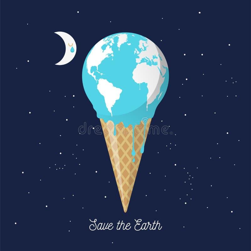 Cone de gelado de derretimento da terra para o aquecimento global ilustração royalty free