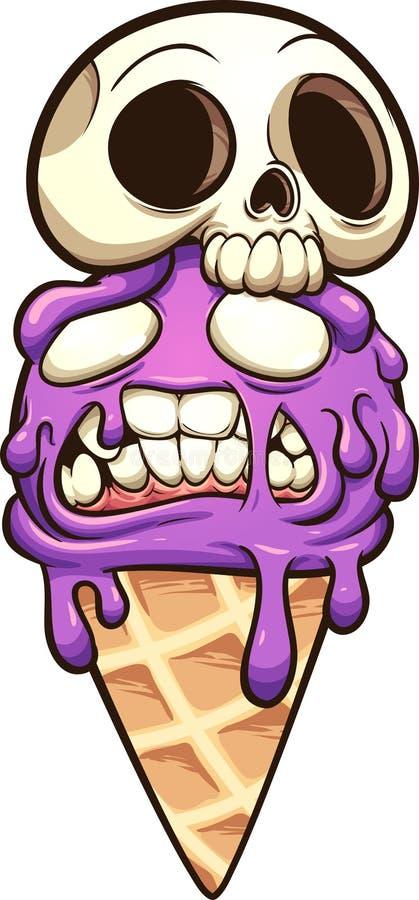 Cone de gelado do zombi com chapéu do crânio ilustração stock