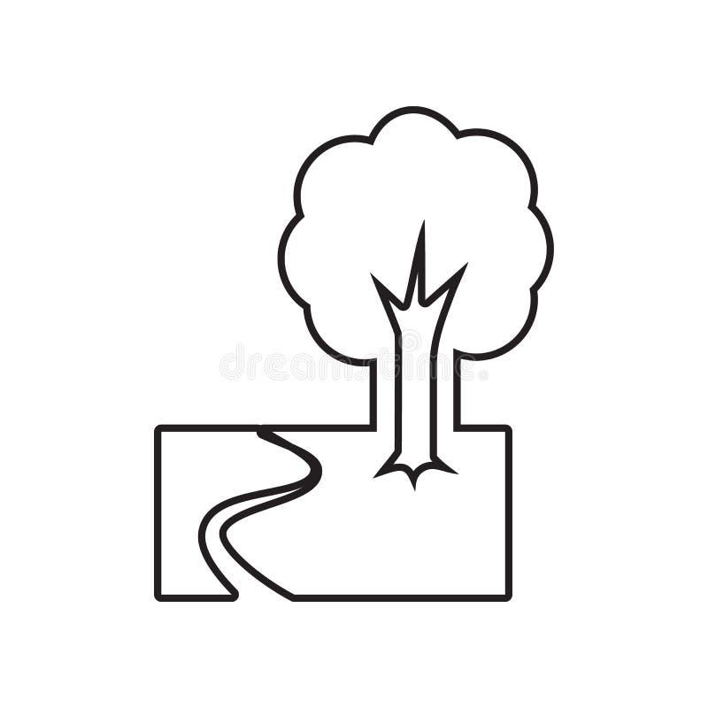 ?cone de madeira do trajeto E Esbo?o, linha fina ?cone para o projeto do Web site e ilustração stock