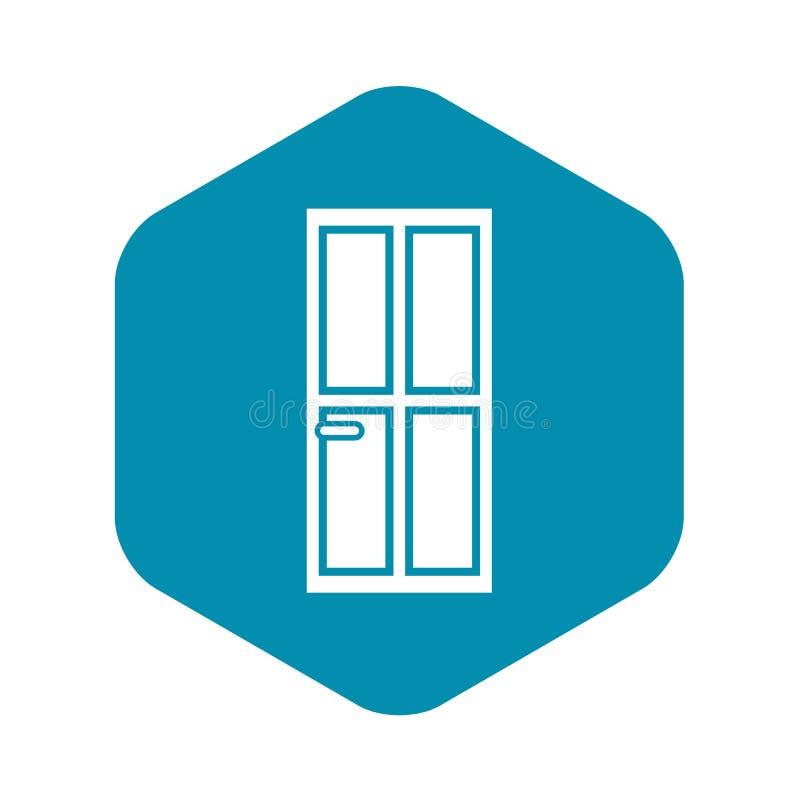 ?cone de madeira fechado da porta, estilo simples ilustração do vetor