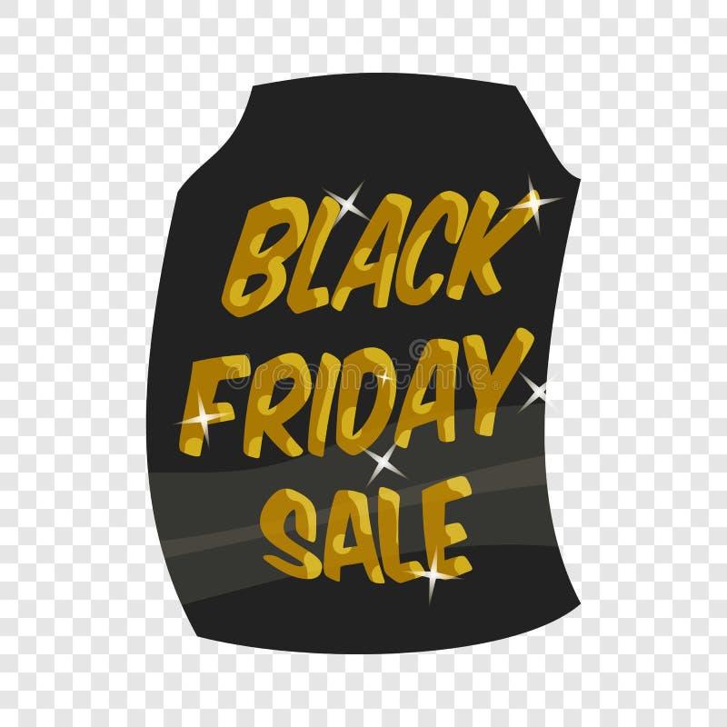 ?cone de sexta-feira do preto da venda de etiqueta, estilo dos desenhos animados ilustração do vetor