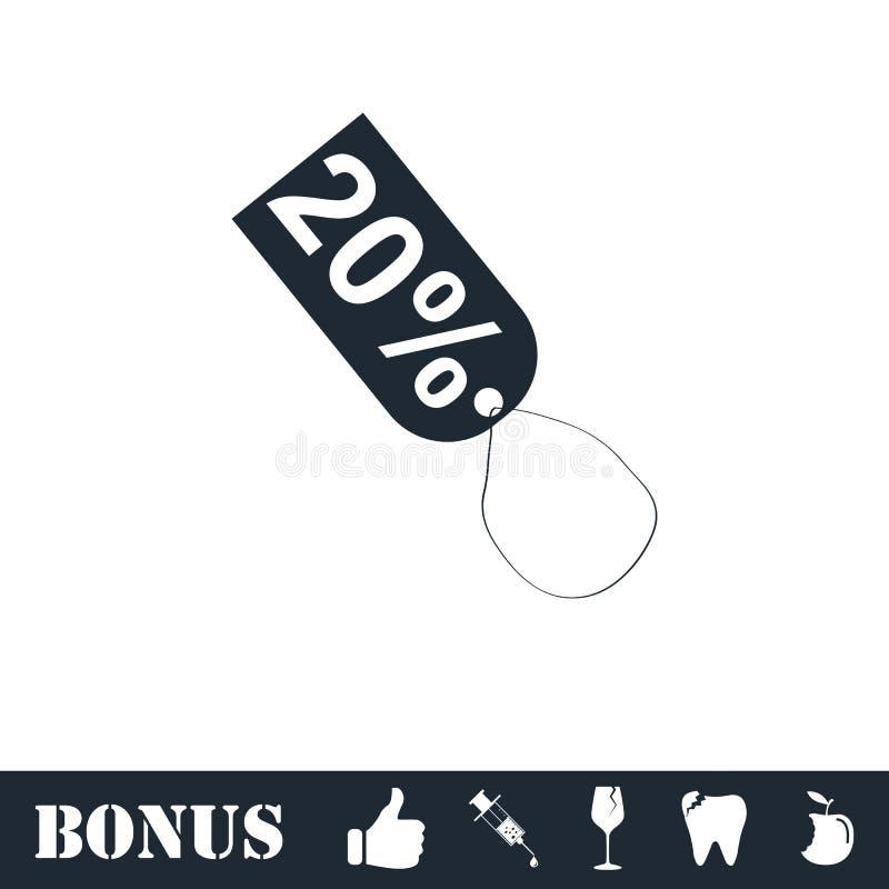 ?cone de um desconto de 20 por cento horizontalmente ilustração royalty free