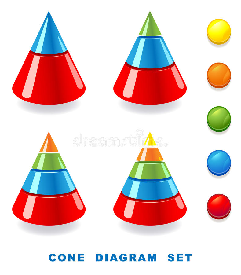 Download Cone diagram set. stock vector. Image of layer, cone - 23047348