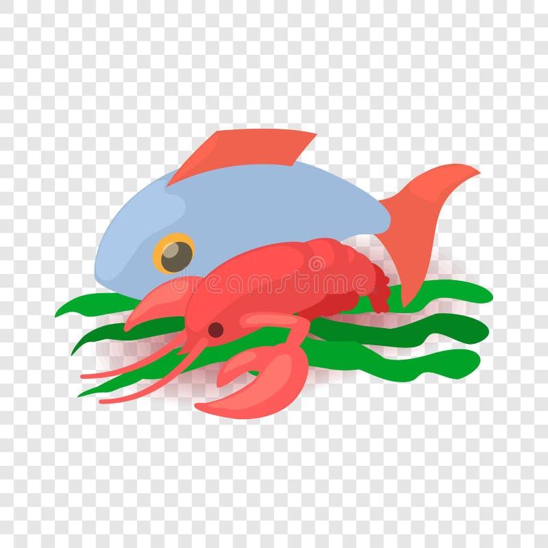 ?cone do alimento de mar, estilo 3d isom?trico dos desenhos animados ilustração stock