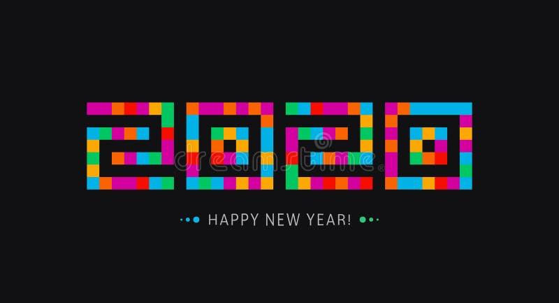 ?cone do ano novo feliz um logotipo de 2020 anos Molde à moda moderno do cartão As telhas de mosaico denominam números Catedral d ilustração do vetor