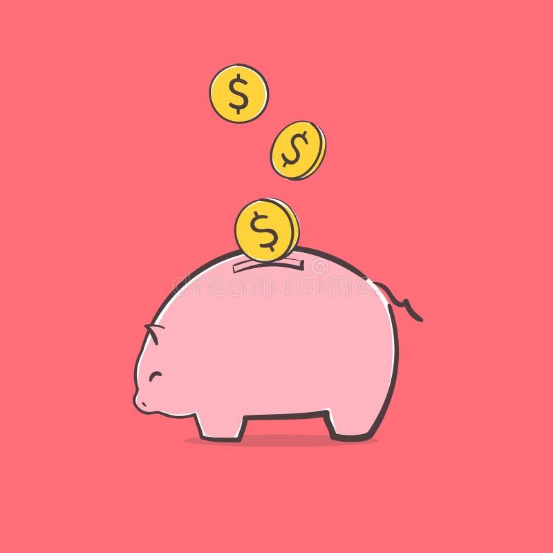 ?cone do banco Piggy Uma ideia do conceito do plano da economia ou de investimento com a moeda internacional que cai no mealheiro ilustração royalty free