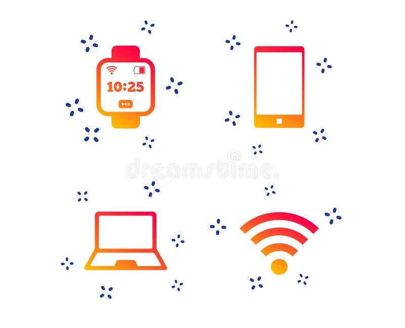 ?cone do caderno e do smartphone S?mbolo esperto do rel?gio Vetor ilustração stock