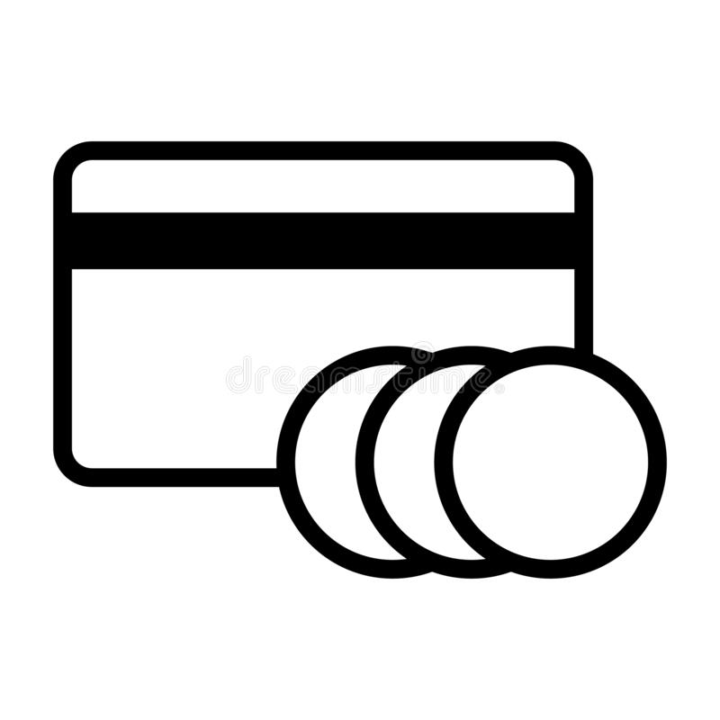 ?cone do cart?o de banco Cart?o de cr?dito com moedas vetor em linha eps10 dos pagamentos ilustração do vetor