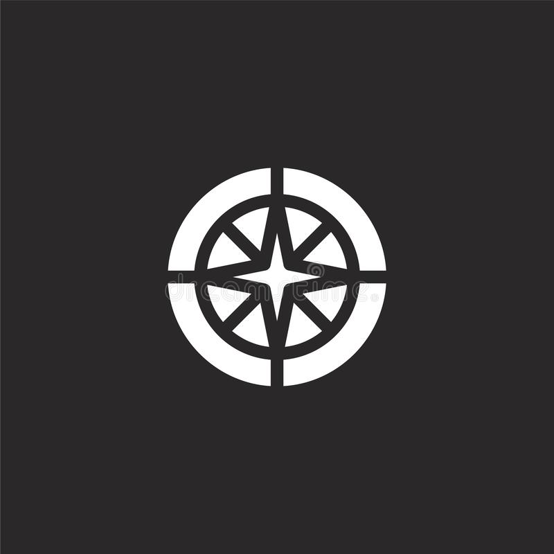 ?cone do compasso Ícone enchido do compasso para o projeto do Web site e o móbil, desenvolvimento do app ícone do compasso da col ilustração stock