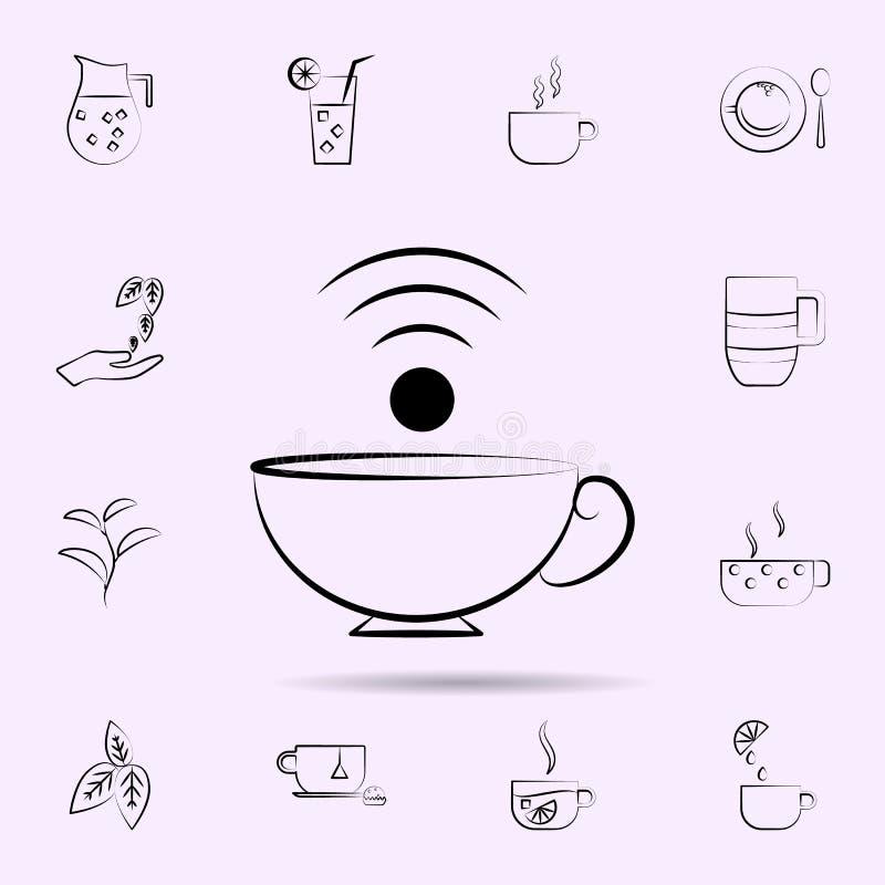?cone do copo de caf? Grupo universal de ch? para o projeto do Web site e o desenvolvimento, desenvolvimento do app ilustração royalty free