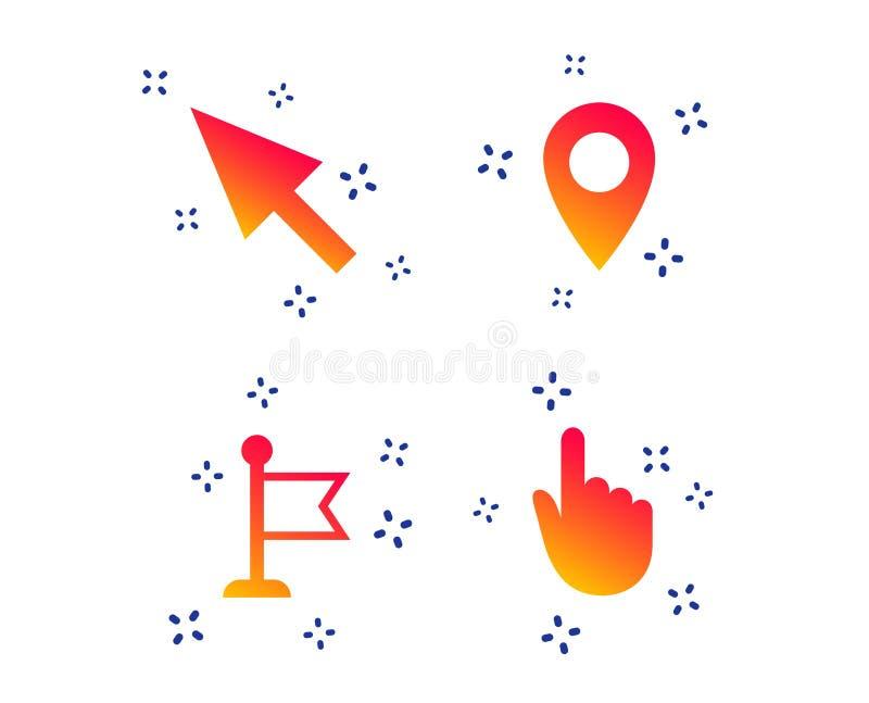 ?cone do cursor do rato S?mbolos do ponteiro da m?o ou da bandeira Vetor ilustração do vetor