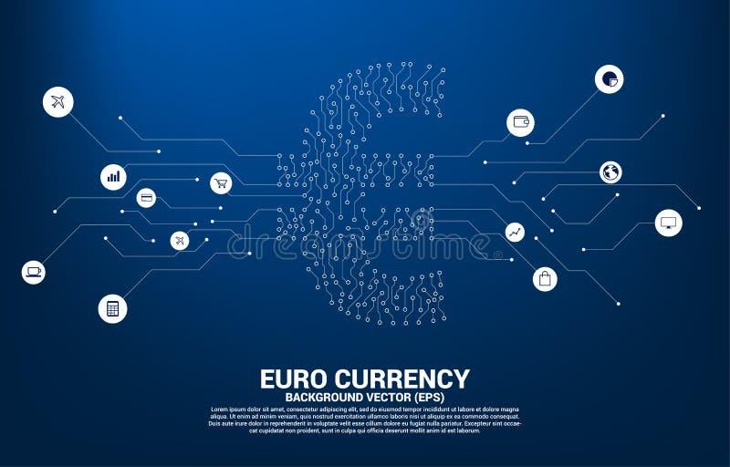 ?cone do dinheiro da moeda do vetor o euro- do ponto do estilo da placa de circuito conecta a linha Conceito para a economia digi ilustração stock