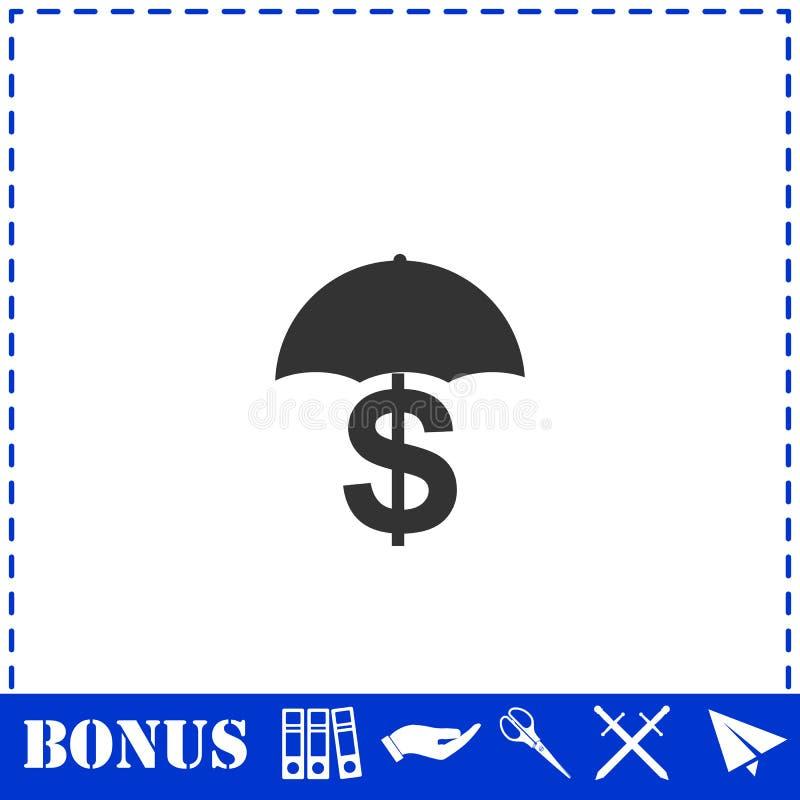 ?cone do dinheiro da preserva??o e de prote??o horizontalmente ilustração stock