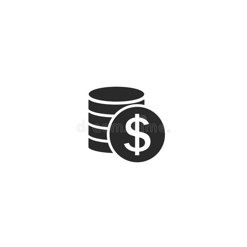 ?cone do dinheiro Sistema de pagamento Sinal do centavo das moedas e do d?lar isolado no fundo branco Estilo liso do projeto ilustração royalty free