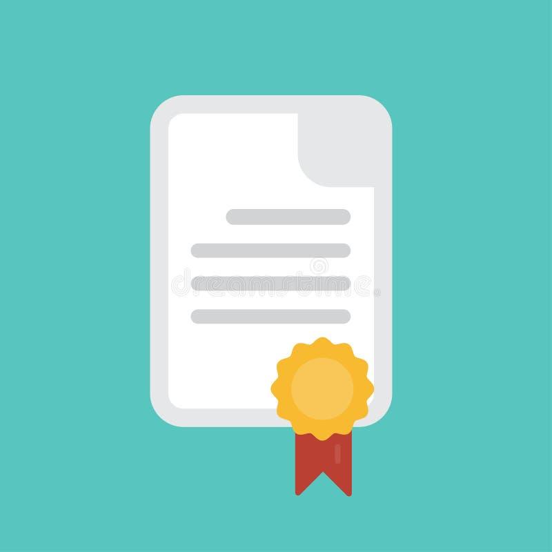 ?cone do diploma Certificado, documento da graduação e medalha com estilo liso do símbolo da fita isolados ilustração royalty free