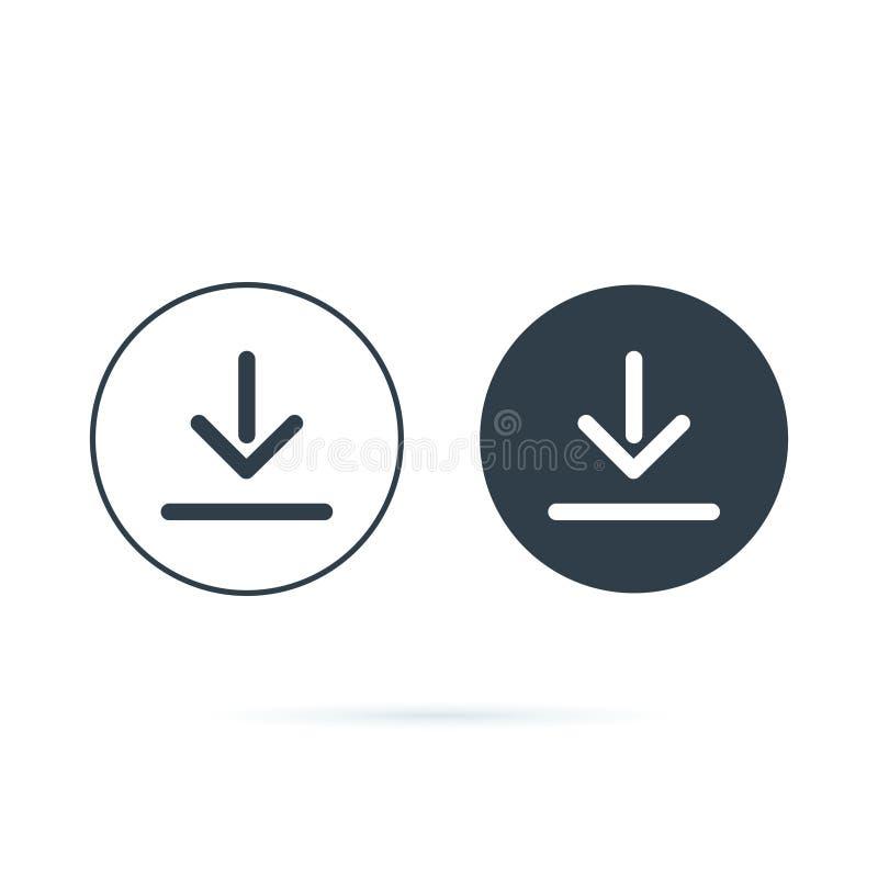 ?cone do Download transferindo o ?cone do vetor Salvar ao símbolo do computador, ao sólido e à linha ícones ajustados para a opçã ilustração royalty free