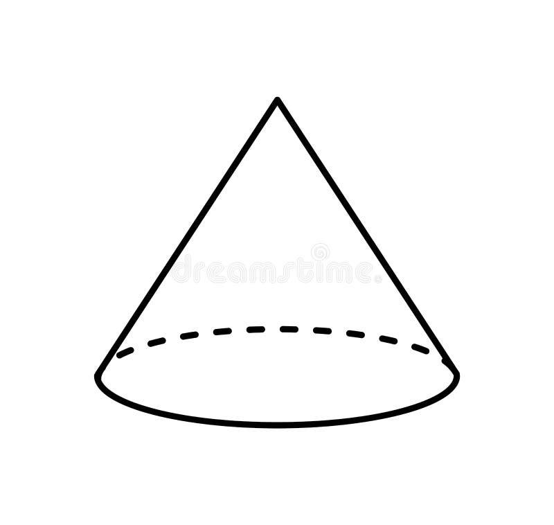 Cone do esboço linear da cor branca, forma geométrica ilustração royalty free
