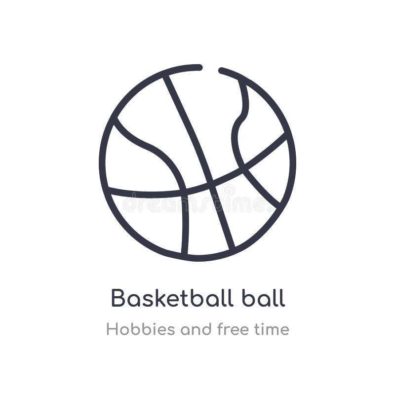 ?cone do esbo?o da bola do basquetebol linha isolada ilustração do vetor dos passatempos e da coleção do tempo livre curso fino e ilustração stock