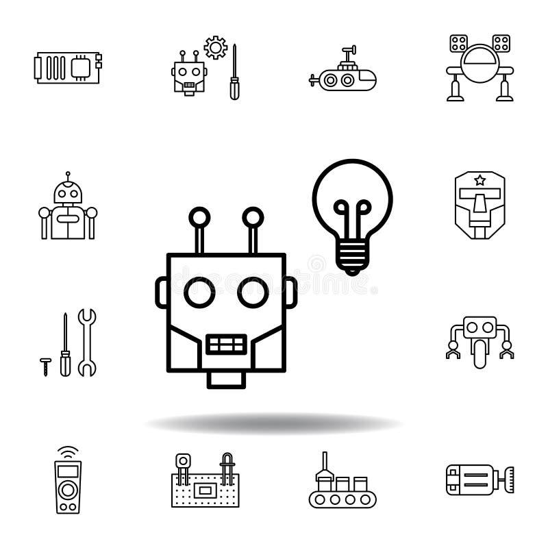 ?cone do esbo?o da m?quina da rob?tica ajuste dos ícones da ilustração da robótica os sinais, símbolos podem ser usados para a We ilustração royalty free