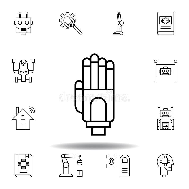 ?cone do esbo?o da m?o do rob? da rob?tica ajuste dos ícones da ilustração da robótica os sinais, símbolos podem ser usados para  ilustração royalty free
