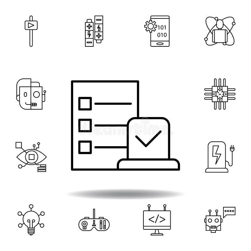 ?cone do esbo?o da tarefa da rob?tica ajuste dos ícones da ilustração da robótica os sinais, símbolos podem ser usados para a Web ilustração stock