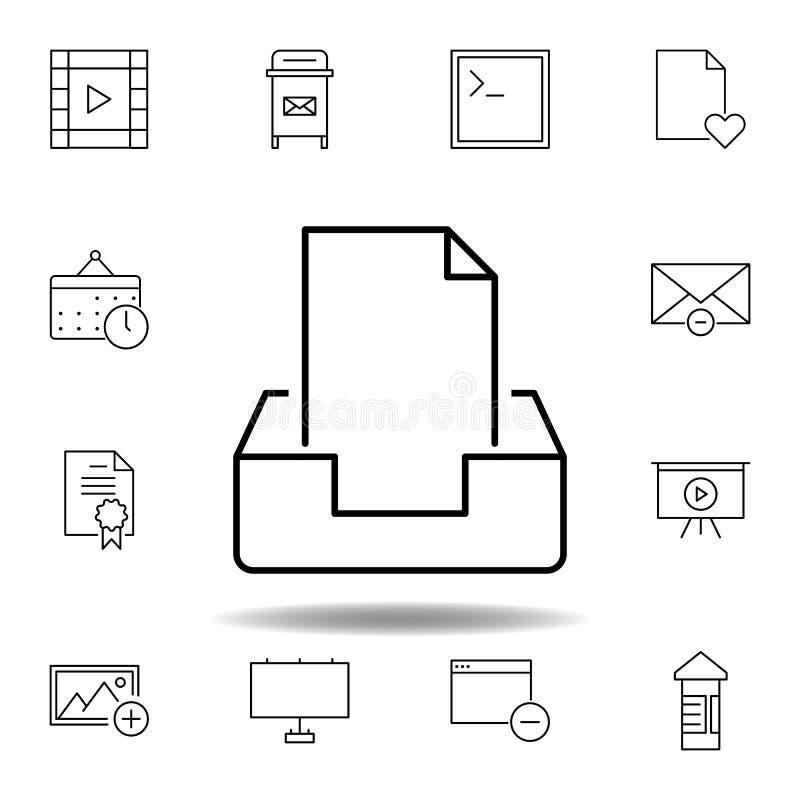 ?cone do esbo?o do inbox do correio da caixa Grupo detalhado de ícones das ilustrações dos multimédios do unigrid Pode ser usado  ilustração stock