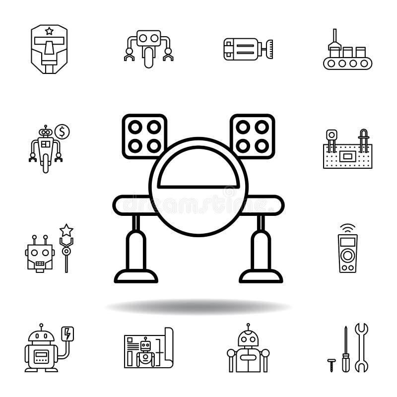 ?cone do esbo?o do m?ssil da rob?tica ajuste dos ícones da ilustração da robótica os sinais, símbolos podem ser usados para a Web ilustração do vetor