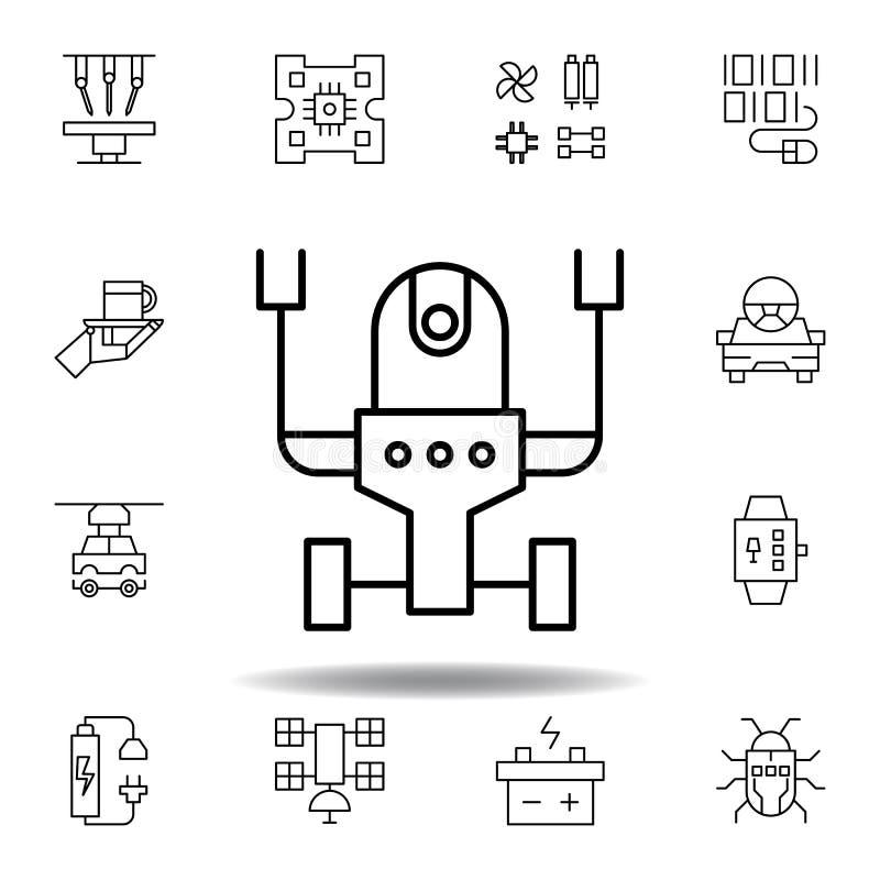 ?cone do esbo?o do rob? da rob?tica ajuste dos ícones da ilustração da robótica os sinais, símbolos podem ser usados para a Web,  ilustração royalty free